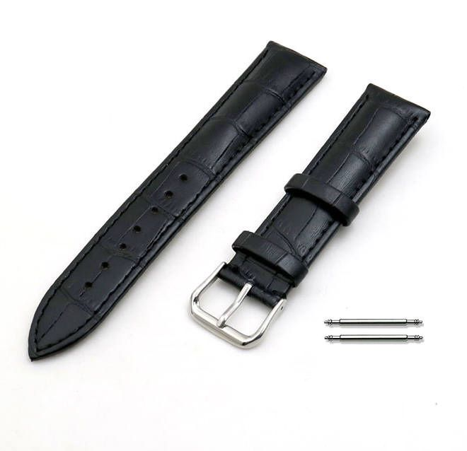 Black Elegant Croco Leather Replacement 20mm Watch Band Strap Steel Buckle #1041