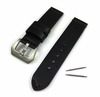 Black Genuine Leather Replacement Watch Band Strap Matte Steel Buckle #1013