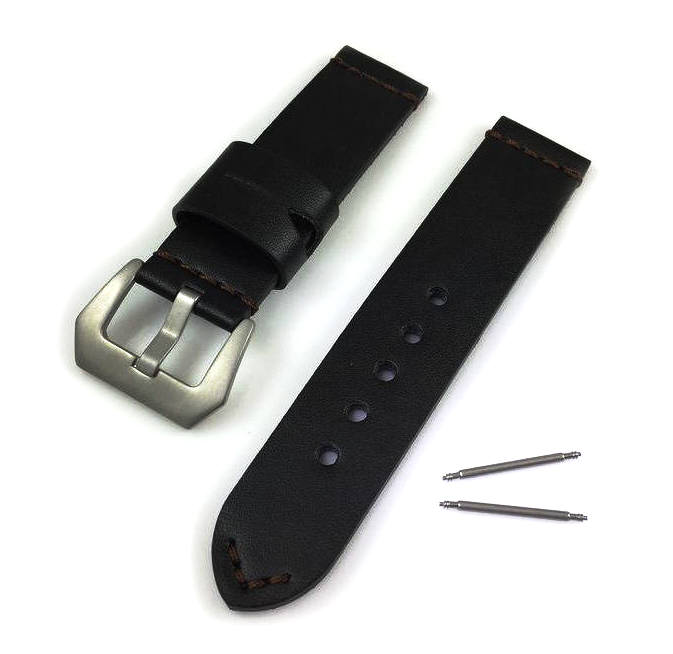 Huawei 2 Black Genuine Leather Replacement Watch Band Strap Matte Steel Buckle #1013
