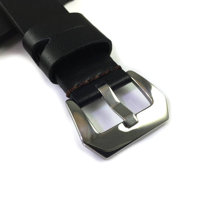 Lacoste Compatible Black Genuine Leather Replacement Watch Band Strap Metal Steel Buckle Brown Stitching #1010