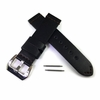 Tissot Compatible Black Genuine Leather Replacement Watch Band Strap Metal Steel Buckle Brown Stitching #1010