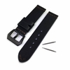 Black Genuine Leather Replacement Watch Band Strap PVD Steel Buckle #1011