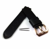 Black Genuine Leather Replacement Watch Band Strap Rose Gold Steel Buckle #1012