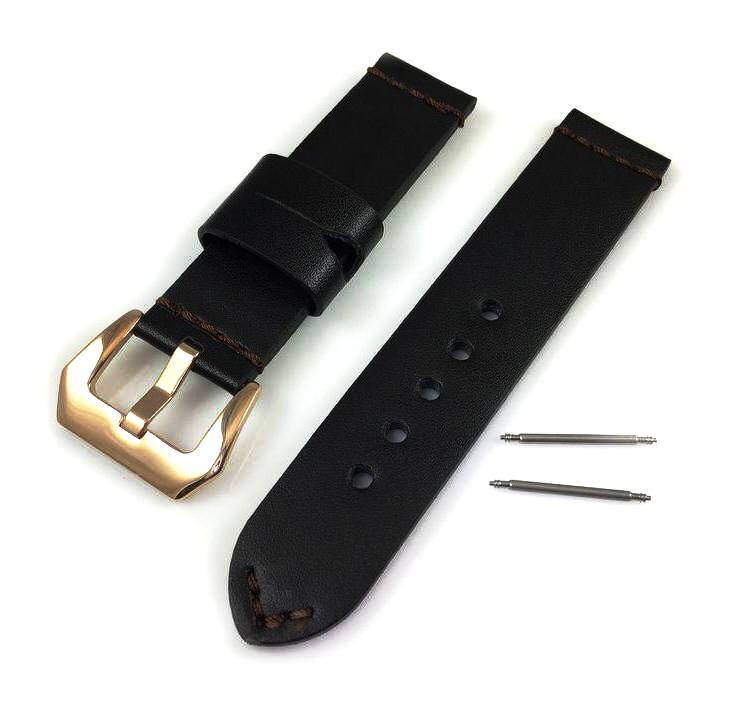 Timex Compatible Black Genuine Leather Replacement Watch Band Strap Rose Gold Steel Buckle #1012