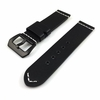Black Genuine Leather Replacement Watch Band Strap Steel Buckle White Stitching #1101