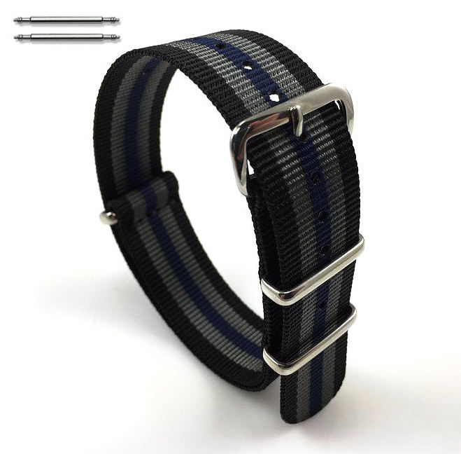 Black Gray Blue Stripes One Piece Slip Through Nylon 20mm Watch Band Strap #6F12