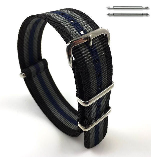 Black Gray & Blue Stripes One Piece Slip Through Nylon Watch Band Strap #6F12