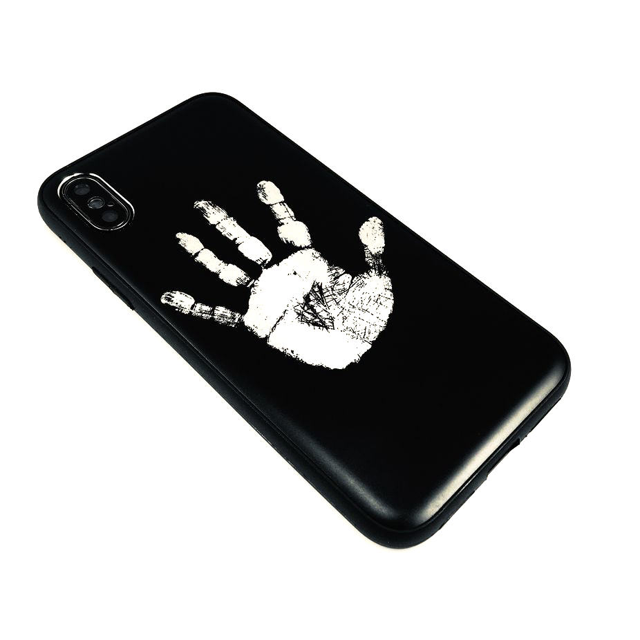 Black iPhone & Samsung Aluminum Metal Cell Phone Case Cover Hand Print #0250
