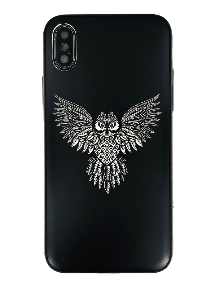Black iPhone & Samsung Metal Aluminum Cell Phone Case Cover Flying Owl #0267