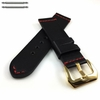 Black Leather Replacement Watch Band Strap Belt Gold Buckle Red Stitching #1108