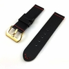 Pebble Time Classic Round Black Leather Replacement Watch Band Strap Belt Gold Buckle Red Stitching #1108