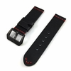 Black Leather Replacement Watch Band Strap Belt Steel Buckle Red Stitching #1107