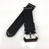 Timex Compatible Black Leather Replacement Watch Band Strap Brushed Steel Buckle White Stitching #1101