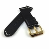 Pebble Time Classic Round Black Leather Replacement Watch Band Strap Gold Buckle White Stitching #1104