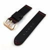 Black Leather Replacement Watch Band Strap Rose Gold Buckle Red Stitching #1106