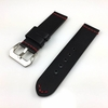 Black Leather Replacement Watch Band Strap Silver Buckle Red Stitching #1105