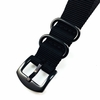 Black One Piece Slip Through Nylon 20mm Watch Band Army Military Black #6022