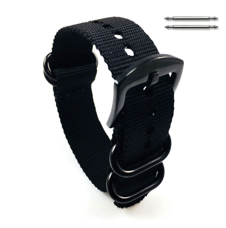 Black One Piece Slip Through Nylon Watch Band Army Military Black Buckle #6022
