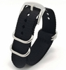 Armitron Compatible Black One Piece Slip Through Nylon Watch Band Army Military Silver Buckle #6021