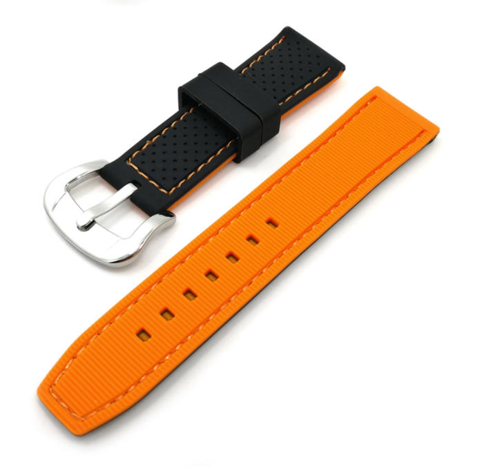 Black & Orange Double Side Silicone Replacement Watch Band Strap #4406