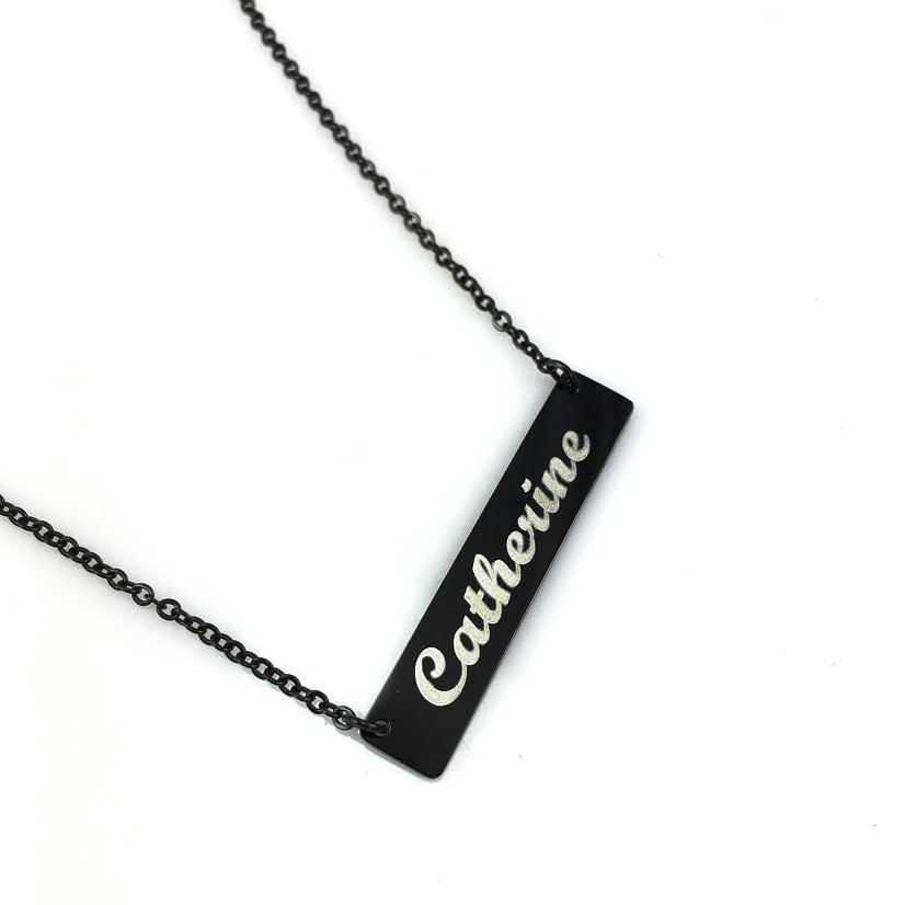 Black Personalized Laser Engraved Name Plate Bar Chain Necklace Engraving Pendant 1007