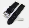 Black Premium Genuine Replacement Leather Watch Band Strap Metal Steel Buckle #1002