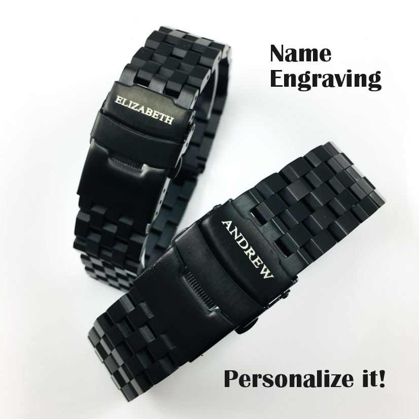 Longines Compatible Black PVD SS Steel Metal Watch Band Strap Bracelet Double Locking Buckle #5052