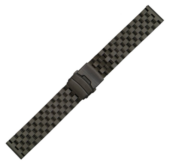 Coach Compatible Black PVD SS Steel Metal Watch Band Strap Bracelet Double Locking Buckle #5052
