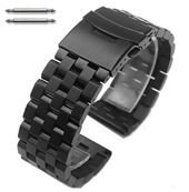 Black PVD SS Steel Metal Watch Band Strap Bracelet Double Locking Buckle #5052