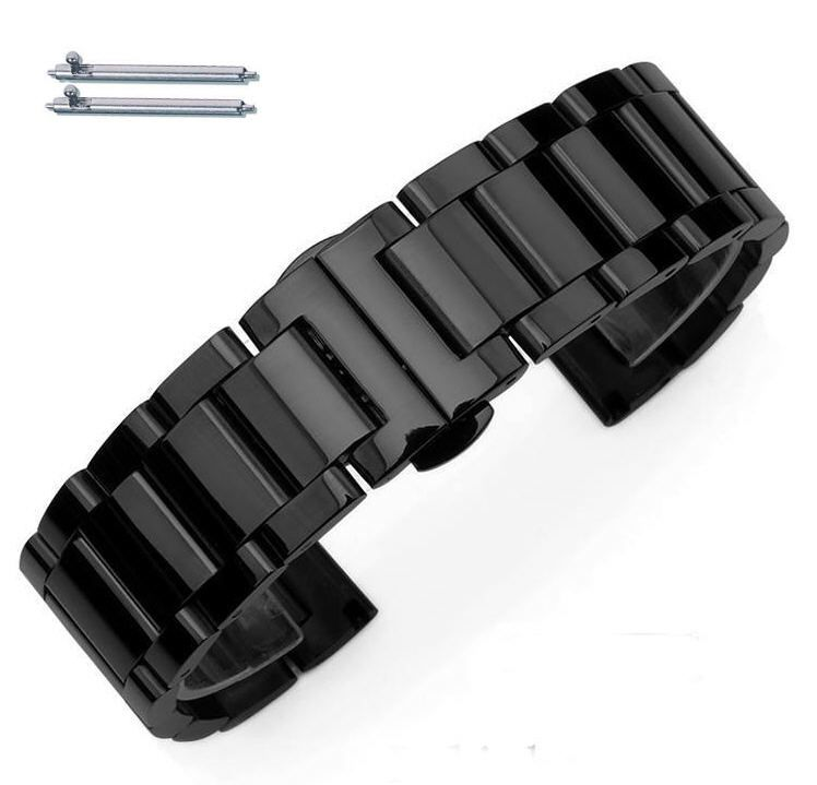 Black PVD Steel Metal Bracelet Replacement 18mm Watch Band Butterfly Clasp #5011