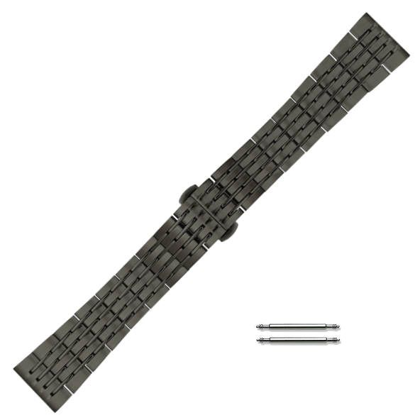 Black PVD Steel Metal Bracelet Replacement 20mm Watch Band Butterfly Clasp #5005