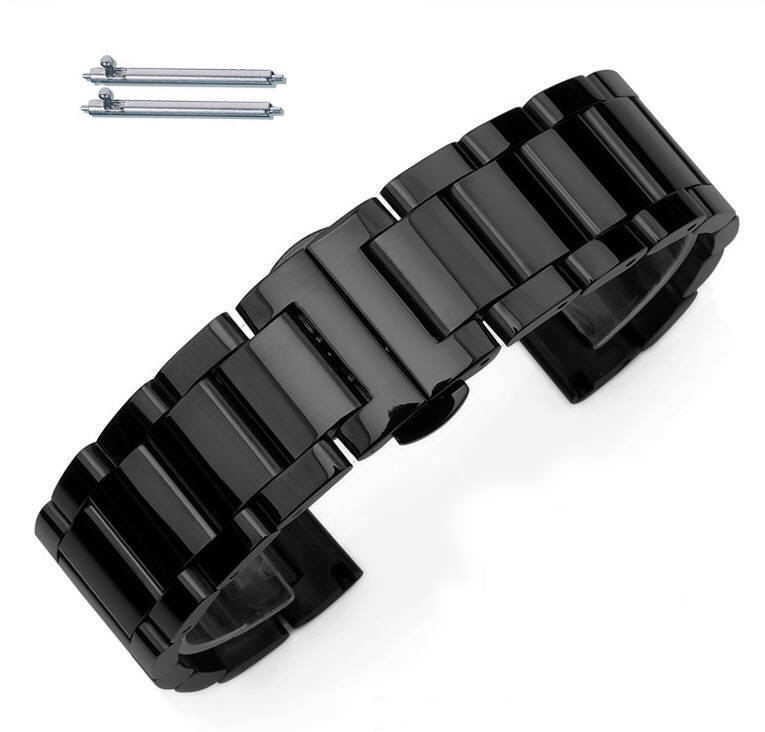 Black PVD Steel Metal Bracelet Replacement Watch Band Strap Push Butterfly Clasp #5011