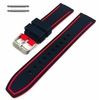 Black & Red Double Side Silicone Replacement 20mm Watch Band Strap Belt #4064