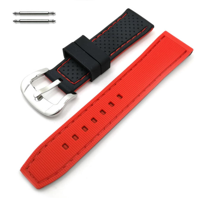 Black & Red Double Side Silicone Replacement Watch Band Strap #4407