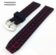 Black & Red Sports Tire Track Silicone Replacement 20mm Watch Band Strap #4067