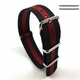 Black & Red Stripes One Piece Slip Through Nylon Watch Band Strap SS Buckle #6F19
