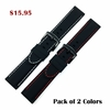 Emporio Armani Compatible Black Rubber Silicone PU Replacement Watch Band Strap Red Stitching Steel Buckle #4006