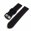 TW Steel Compatible Black Rubber Silicone PU Replacement Watch Band Strap Red Stitching Steel Buckle #4006
