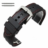 Black Rubber Silicone PU Replacement Watch Band Strap Steel Buckle Red Stitching #4008