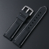 Pebble Time Classic Round Black Rubber Silicone PU Replacement Watch Band Strap Steel Buckle White Stitching #4003