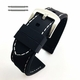 Black Rubber Silicone PU Replacement Watch Band Strap Steel Buckle White Stitching #4003