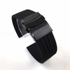 Huawei 2 Black Rubber Silicone Replacement Watch Band Strap PVD Double Lock Steel Buckle #4012