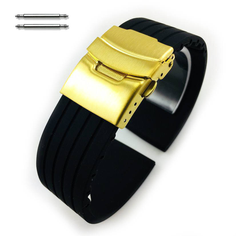 Black Silicone 20mm Watch Band Strap Gold Double Lock Buckle #4011G