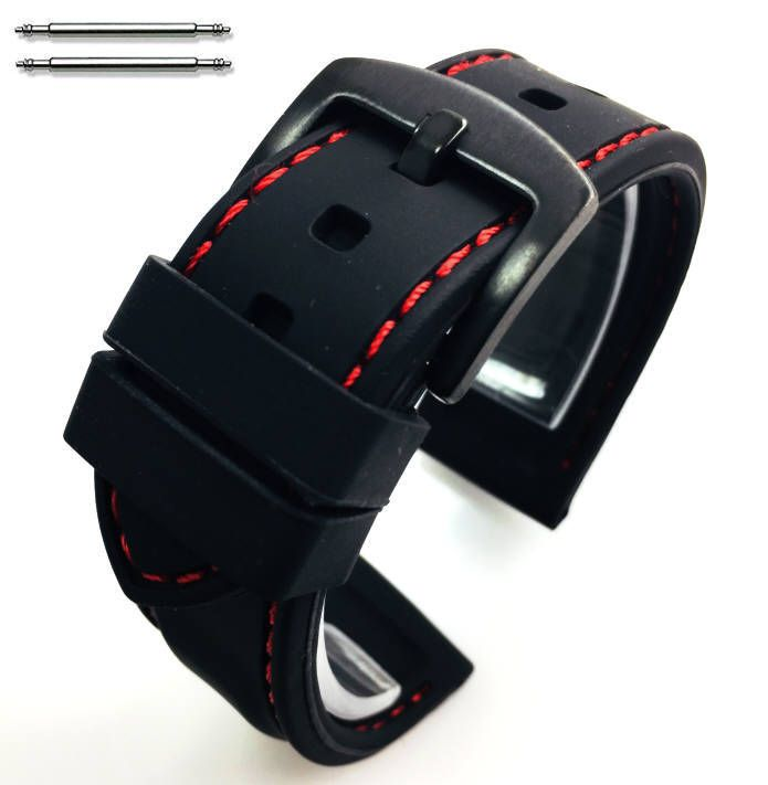 Black Silicone 20mm Watch Band Strap Red Stitching Steel Buckle #4006