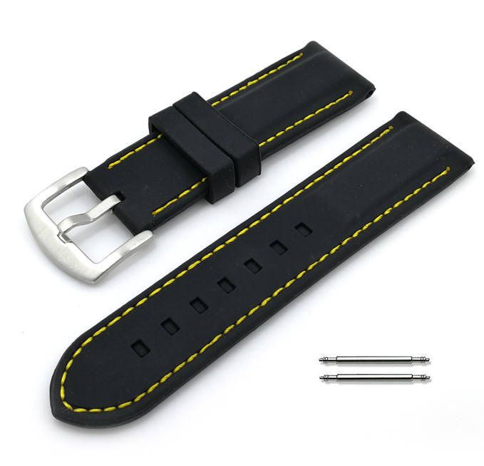 Black Silicone 20mm Watch Band Strap Steel Buckle Yellow Stitching #4005