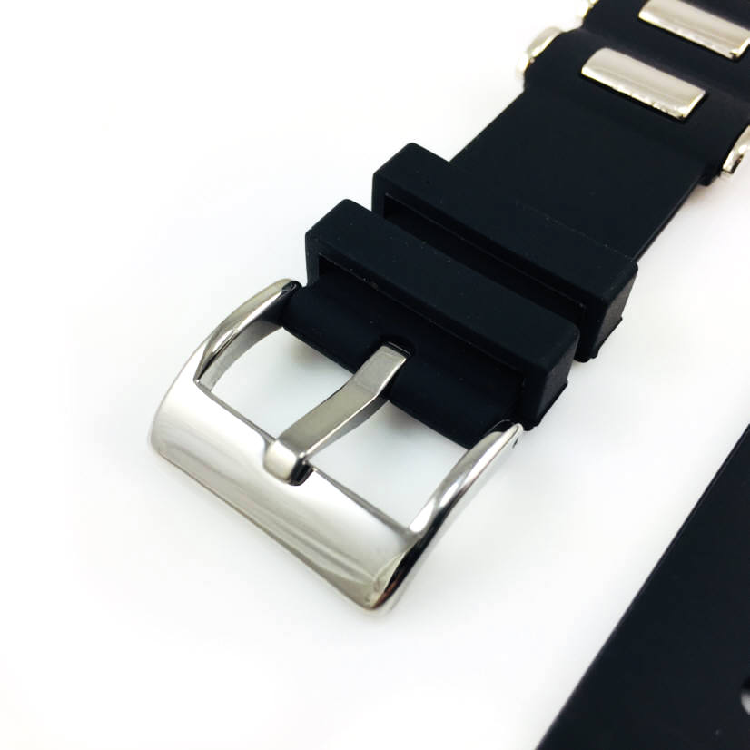 Black Silicone Bullets Style Replacement 20mm Watch Band Strap SS Buckle #4059