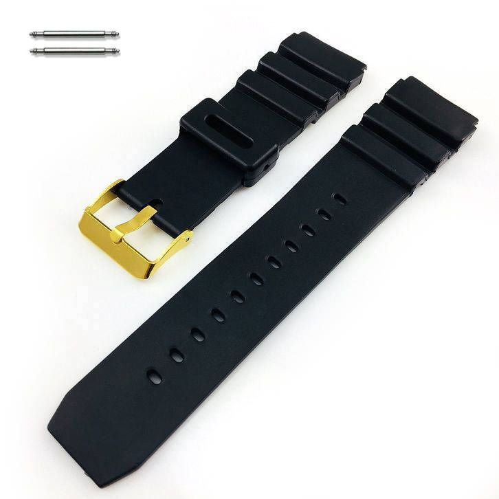 Black Silicone Diver's Style Replacement 18mm Watch Band Strap Gold Buckle #4031G