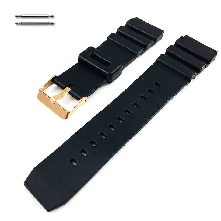 Black Silicone Diver's Style Replacement 20mm Watch Band Strap Rose Gold Buckle #4031RG