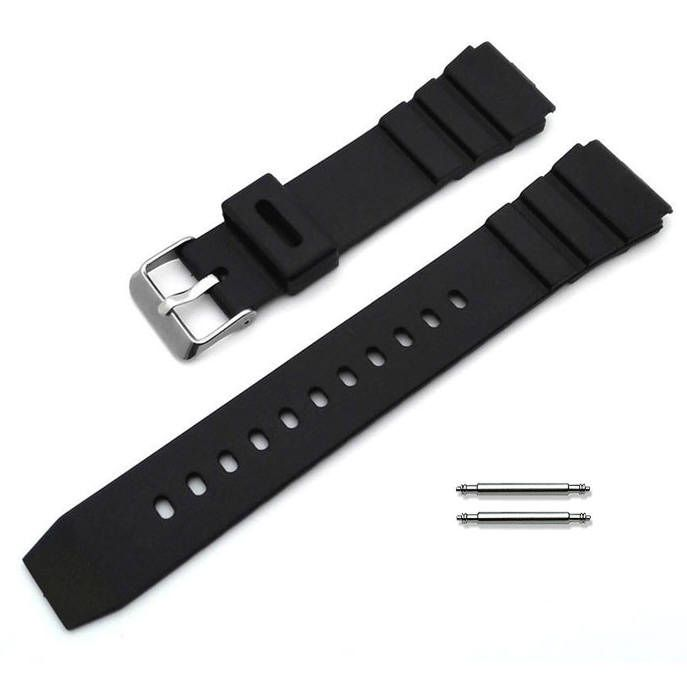 Black Silicone Diver's Style Replacement 20mm Watch Band Strap SS Buckle #4031