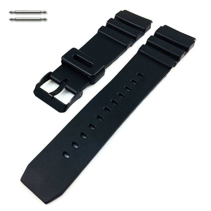 Black Silicone Diver's Style Replacement 20mm Watch Band Strap SS Buckle #4032